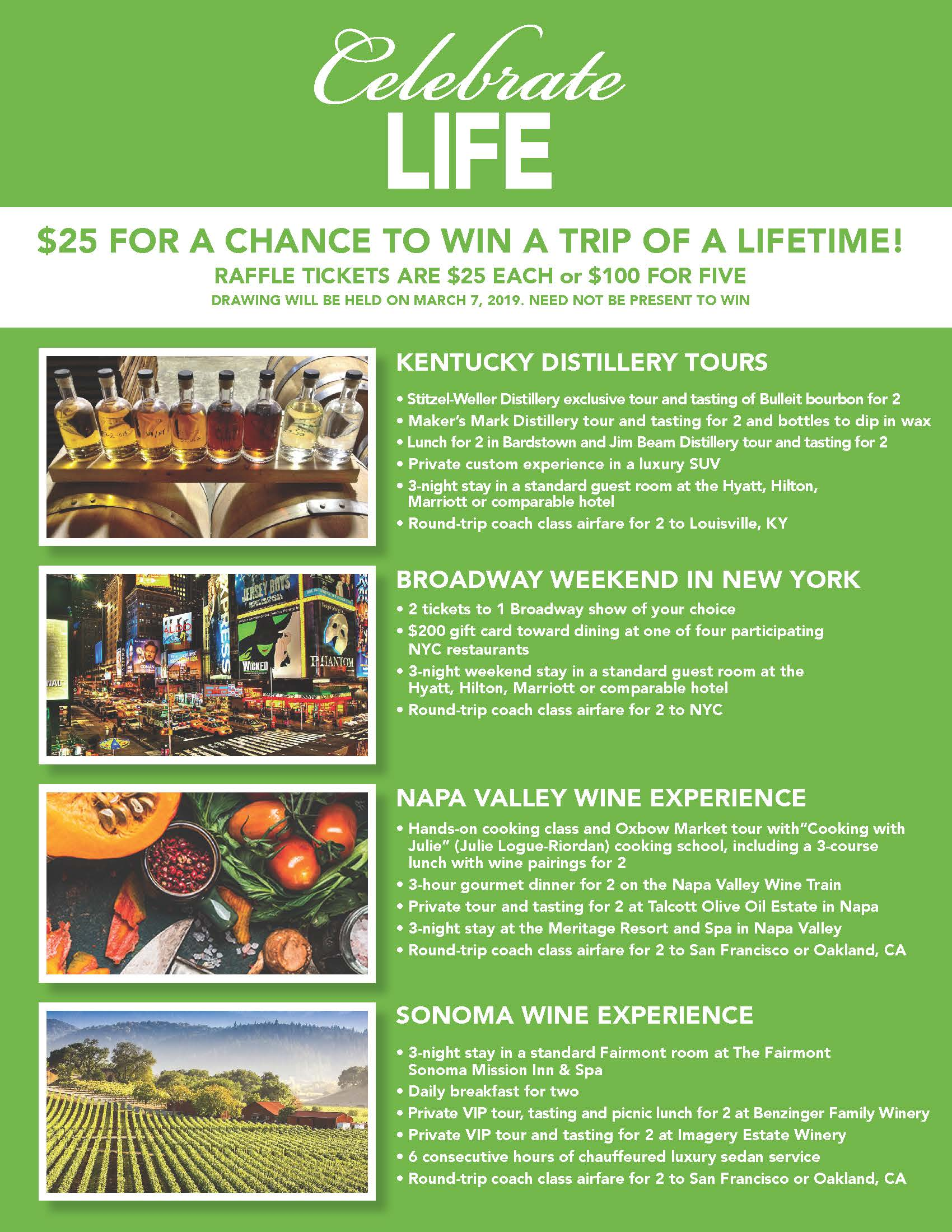 find ticket prices and details below click here to purchase your celebrate life raffle tickets